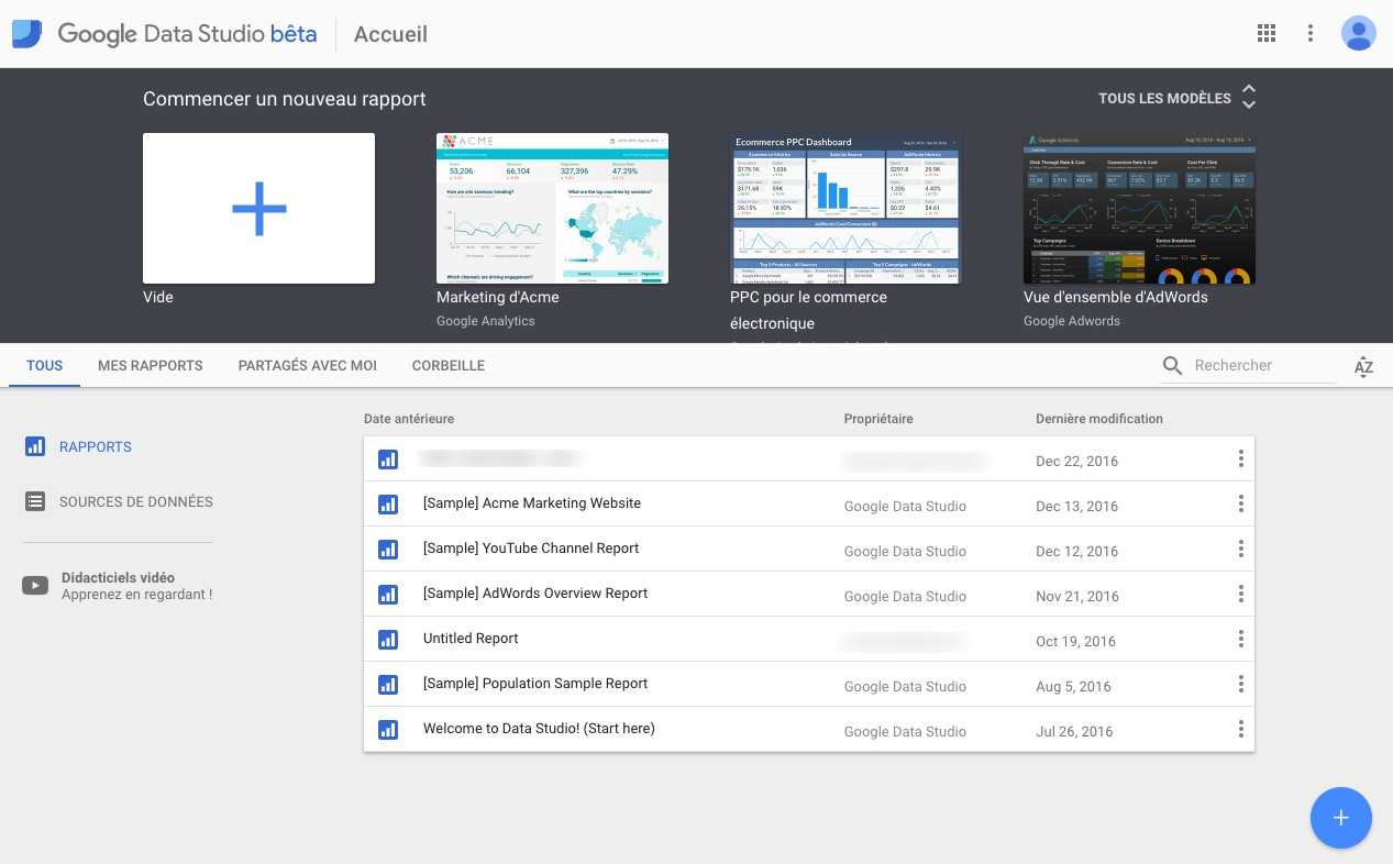 Sources de données reporting CRM Google Data Studio