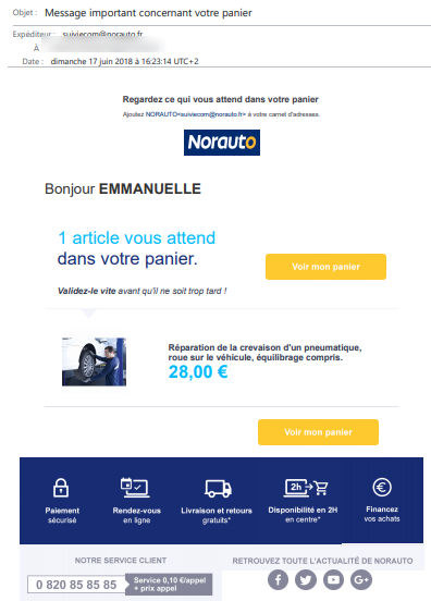 exemple email norauto
