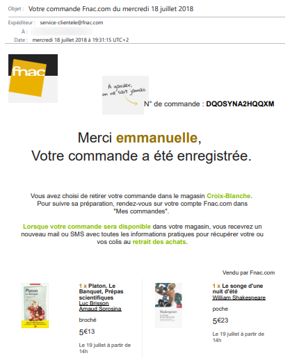 exemple email confirmation commande web fnac 1