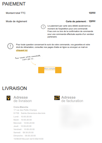 exemple email confirmation commande web fnac 2