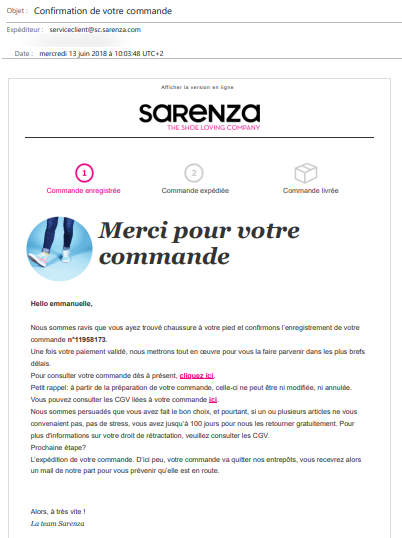 exemple email confirmation commande web sarenza