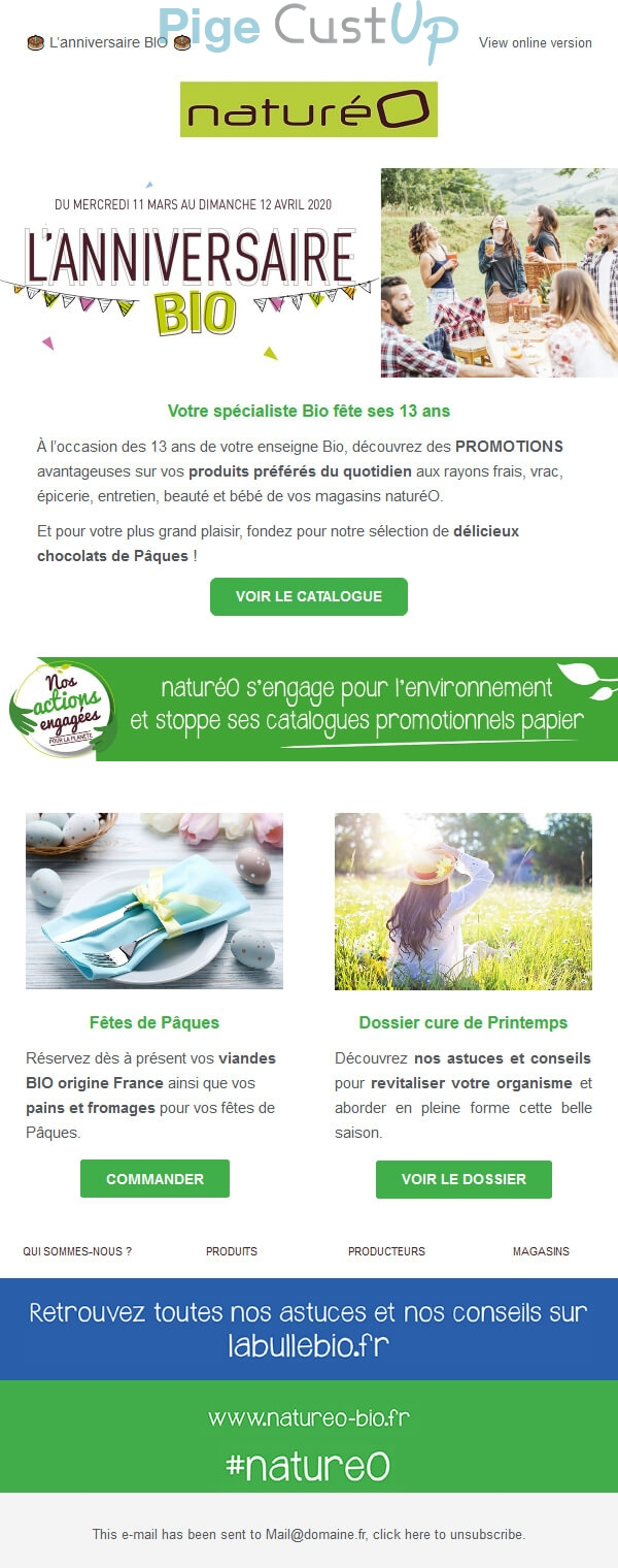 Exemple de Type de media  e-mailing - Naturéo - Marketing Acquisition - Anniversaire marque - Marketing relationnel - Calendaire (Noël, St valentin, Vœux, …) - Marketing marque - Communication Produits - Nouveaux produits - Marketing fidélisation - Incitation au réachat