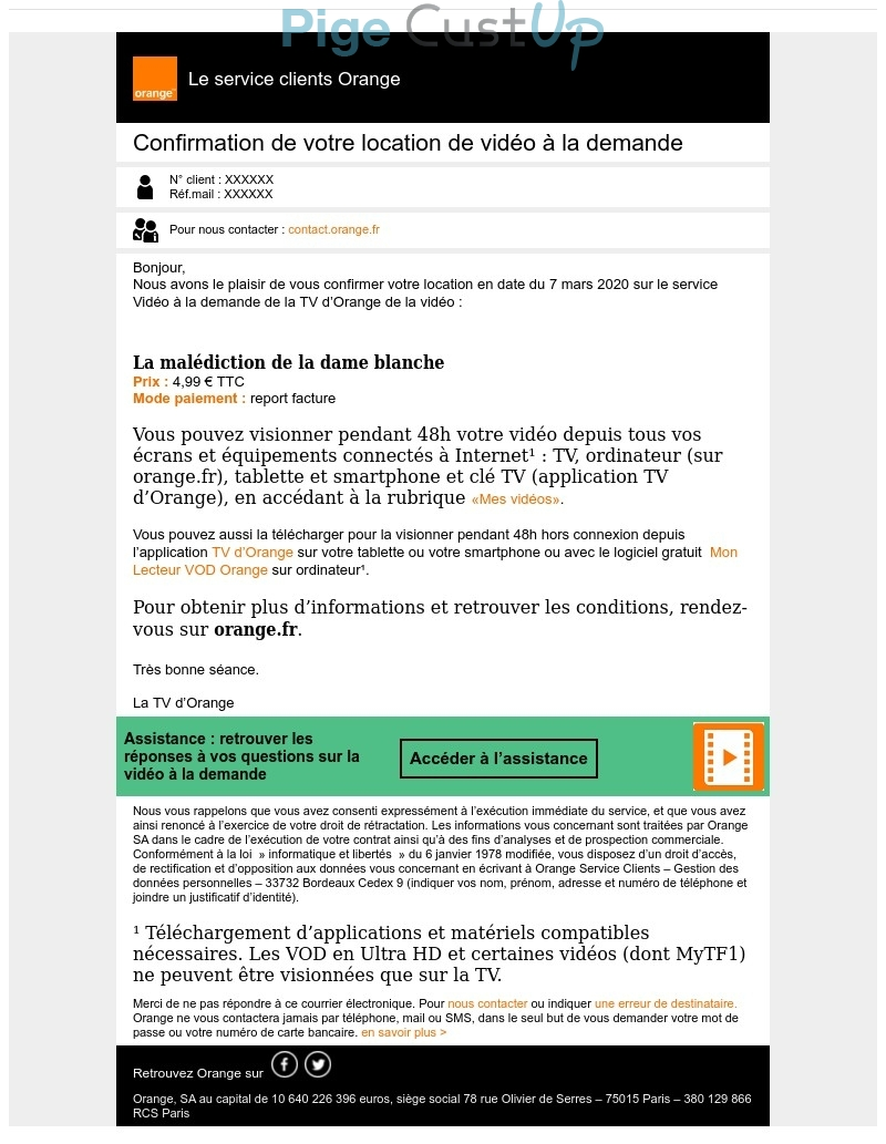 Exemple de Type de media  e-mailing - Orange - Transactionnels - Confirmation de commande
