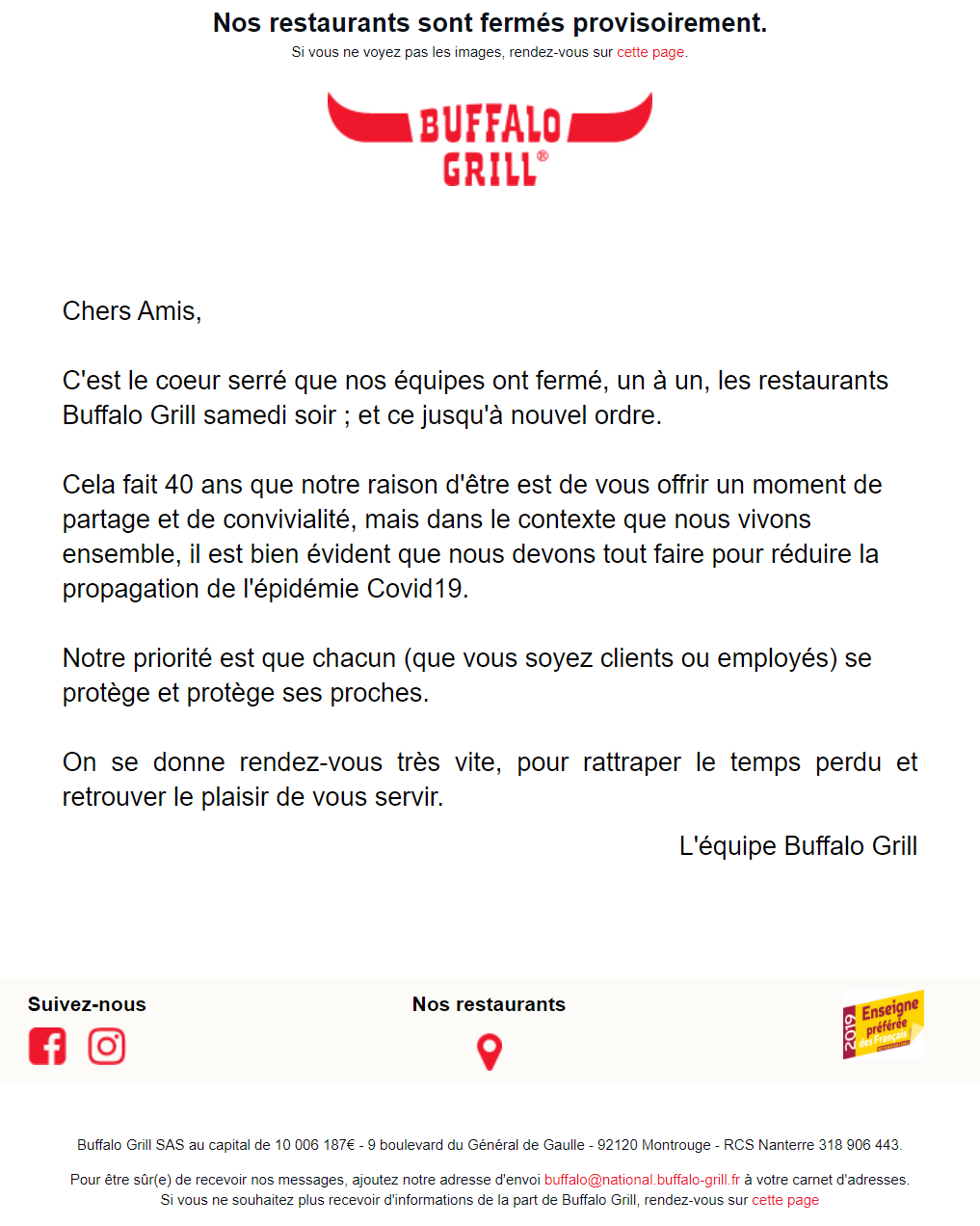 exemples emails coronavirus buffalo grill