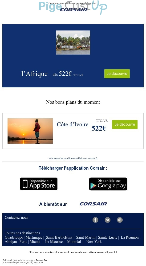 Exemple de Type de media  e-mailing - Corsair - Marketing marque - Communication Produits - Nouveaux produits - Marketing fidélisation - Incitation au réachat - Marketing Acquisition - Ventes flash, soldes, demarque, promo, réduction