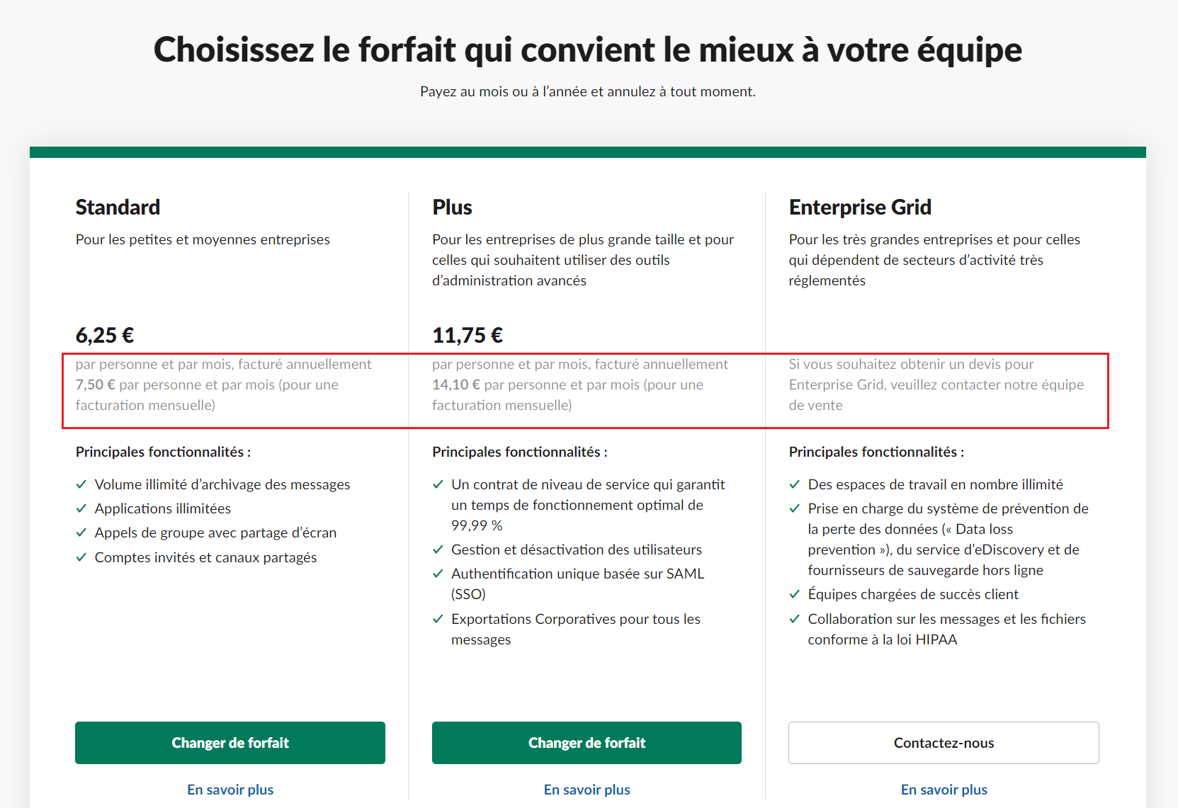 pricing saas exemple slack