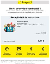 e-mailing - Transactionnels - Confirmation de commande - Bayard - 10/2021